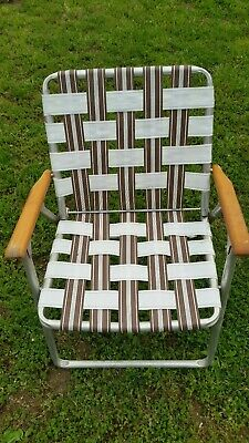 Vintage Folding Lawn Chair Webbed Patio Wooden Beach Yard Aluminum