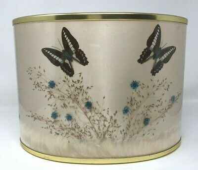 Vtg Mid Century Silk Lampshade Dried Flowers Butterfly Oval Shade Hand Crafted