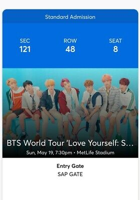 2 BTS TICKETS METLIFE STADIUM - Section 121 / Row 48 | May 19th