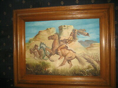 VINTage Oil on Canvas Painting S W Native American Indian on Horse Back , Signed