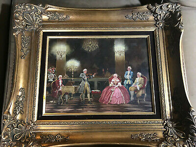 """Stunning A Weber-Brauns (1887 -1956) """"Indoor Parlor Scene"""" Oil Painting - Framed"""