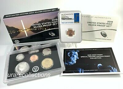 "2019 SILVER PROOF SET w/""W"" REVERSE LINCOLN CENT NGC PF70 RD *First Day of Issue"