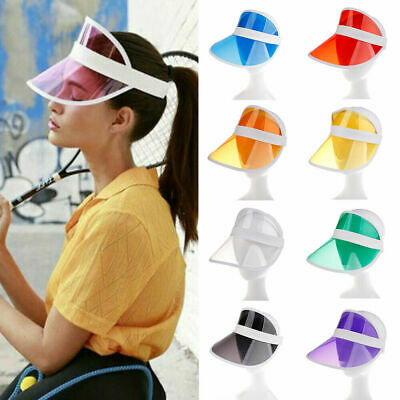 Summer Hat Sun Visor Party Casual Hat Clear Plastic PVC Adult Sunscreen Cap US