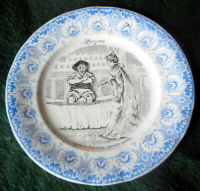Early 1900s 2 Color Transferware Proverbes Plate by Saint Amand Et Hamage ~ C