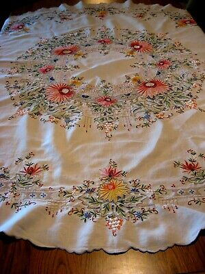 """Beautiful Colorful Vintage Round Floral Madeira Tablecloth - 64"""""""