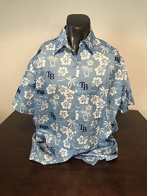 Tampa Bay Rays Sga Baseball Hawaiian Button Shirt Medium Blue White Tradewinds