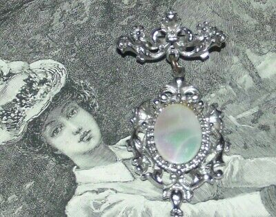 Lovely VINTAGE MOTHER OF PEARL DROP BROOCH Silver Tone Metal Pin (J251)