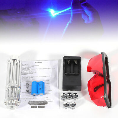 5mW Blue Laser Pointer Match Pen Burning Beam Lights Set Kit 450nm with Goggles