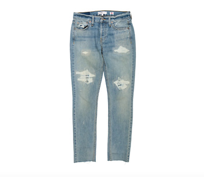 exceptional range of colors professional new arrivals REDONE LEVI'S RE/DONE Low Rise Skinny Distressed Rip USA Rigid Denim Jeans  25