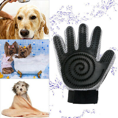 Pet Grooming Glove Brush Loose Hair Remover Fur Dog Cat Massage Removal Tool New