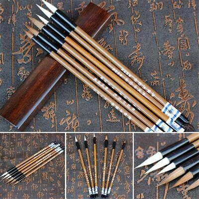 6Pcs Traditional Chinese White Clouds Bamboo Wolf's Hair Calligraphy Brush