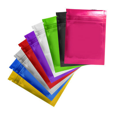 Resealable Colors Glossy Aluminum Foil Zip Lock Bags Mylar Food Grade Pouches
