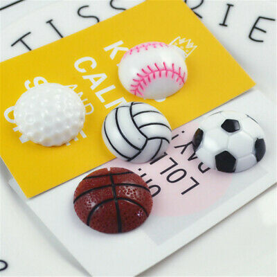 23mm Resin Cabochons Sports Ball Shaped Craft Decor Flatbacks Accessories 10 pcs