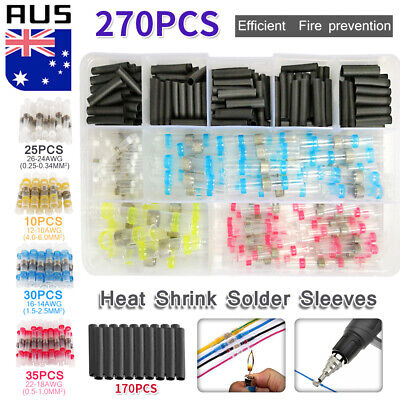 250x Solder Sleeve Seal Heat Shrink Electrical Butt Wire Terminal Connector Kit