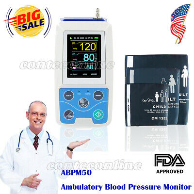 CONTEC ABPM50 Ambulatory Blood Pressure Monitor+Software 24h NIBP Holter 3 Cuffs