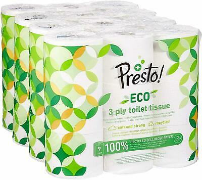 Presto! 3-Ply ECO Toilet Tissues 36 Rolls Soft Cleaning Paper FSC Recycled New