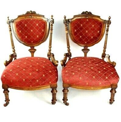 Pair of Quality Victorian Solid Walnut Carved Ladies Chairs [5178 5179]