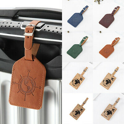 Leather Compass Luggage Tag Travel Suitcase Bag Id Tag Label Baggage Card Holder
