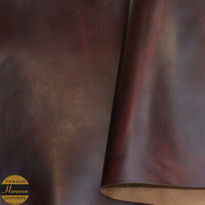 Horween Chromexcel Leather VegRe Tan Burgundy Panels 2.0-2.2 mm Thick Firm Feel.