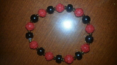 Native American Made Black with Carved Red Flower Beads Cuff Bracelet
