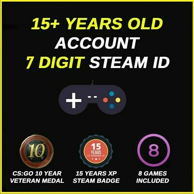 Veteran Old Steam Account - 7 Digit Id - 8 Games - 15 Years Old [Fast Delivery]