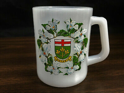 Vintage Ontario Canada Federal Coffee Mug Milk Glass Cup