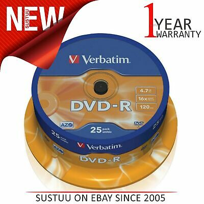 Verbatim 43522 4.7GB 16x Speed 120min DVD-R│Matt Silver Blank Disc│25pk Spindle