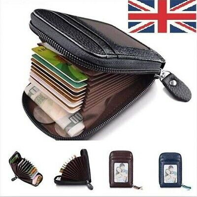 Uk Rfid Blocking Wallet Anti-Theft Secure Faux Leather Bank Card Holder
