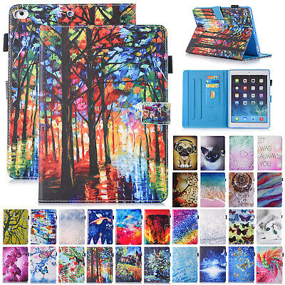 For iPad Mini 1 2 3 4 Case Patterned Smart Magnetic Leather Card Holder Cover