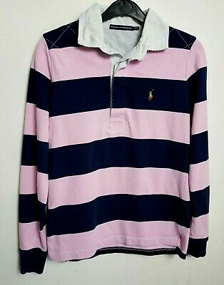 Ralph Lauren Sport Womens Rugby Polo Shirt M Pink Navy Blue White
