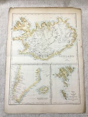 Antique Map of Iceland Greenland Faeroe Islands 19th Century Old Hand Coloured