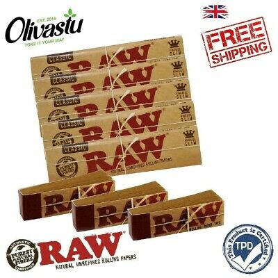 RAW Rolling Papers King Size Slim with Roach Filter Tips Rizla Kit CLASSIC NEW