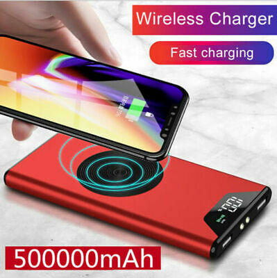 Qi Wireless Portable Battery Charger 500000mAh Power Bank for Mobile Phone 2 USB