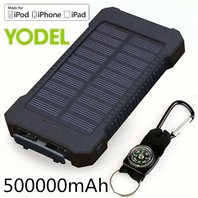 Waterproof 500000mAh Power Bank 2 USB Solar Pack Battery Charger Fr Mobile Phone