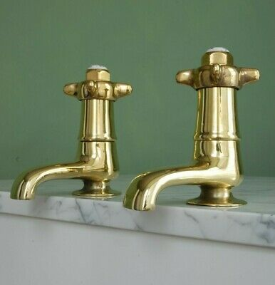 Vintage Sink Taps Brass Art Deco Fully Refurbished Antique Hardware Bathroom