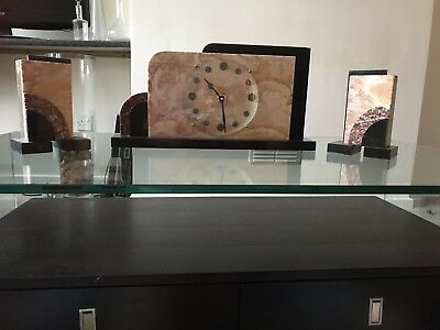 Antique Art Deco French Clock With Garnitures