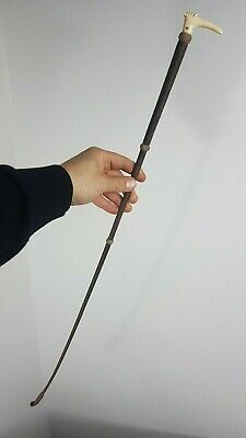 RIDING CROP WHIP BONE HANDLE VICTORIAN 1890s TWINE LEATHER MADE IN ENGLAND