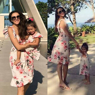 Family Matching Clothes Women Girls Mother and Daughter Floral Dresses Outfit UK