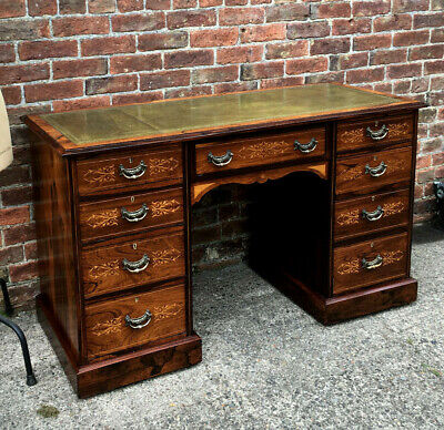 Stunning Antique Victorian Rosewood Marquetry Writing Desk Green Leather Top.
