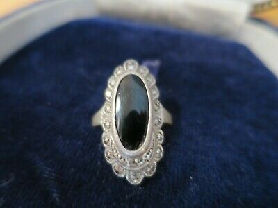Lovely vintage marcasite and silver black agate ring top, 1930's