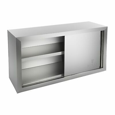 Commercial Wall Hanging Stainless Steel Double Door Two Shelves Cabinet Cupboard