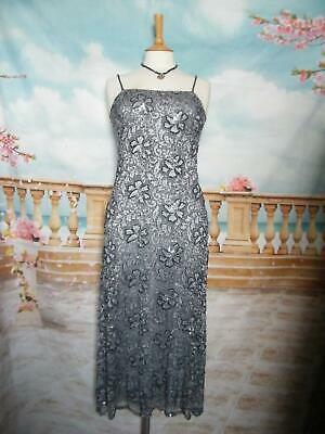 PHASE EIGHT Dress size 8/10 Bead&Sequin Grey Lace Evening/Gatsby 20s Flapper