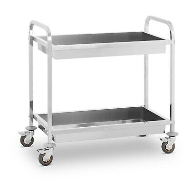 Hotel Catering Serving Trolley Two Shelves 160Kg Capacity Shelf Stainless Steel