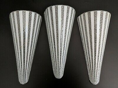 Set of 3 VTG Slip Shades for MCM Mid Century Modern Wall Sconces Textured Glass
