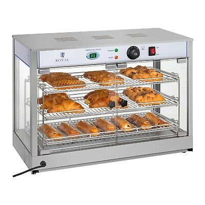 Hot Food Display Warmer Electric Heated Counter Cabinet 3 Shelf Pizza Pie 0-85°C