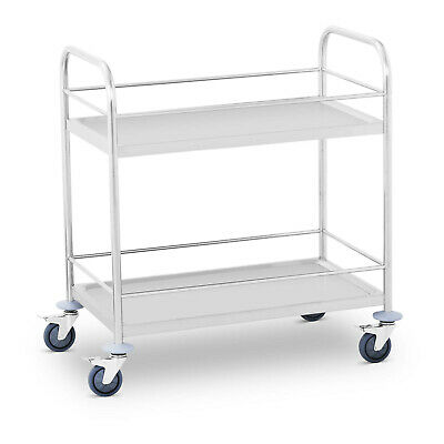 Catering Hotel Bar Restaurant Serving Wagon Drinks Cart 2 Tier Shelves Trolley
