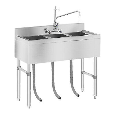 Commercial Restaurant Three Basin Sink Unit Stainless Steel 3 Compartment Unit