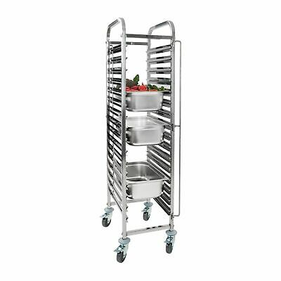 Gastronorm Racking Trolley Stainless Steel Catering Tray 16 Gn Slots Bakery 1/1