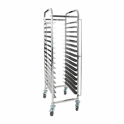 Stainless Steel Tray Trolley 16 Shelves Bakery Bread Mobile Racking x16 Tiers