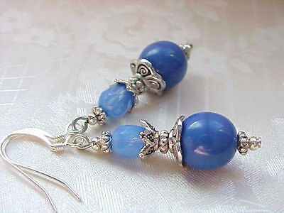 China Blue Earrings Holland Delft Vintage German Opal Milk Glass Bead Collector